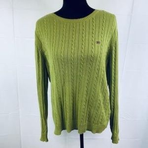 Izod Chartreuse Green Crew Neck Cable Knit Sweater